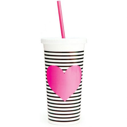 Ban.do – Sip Sip Neon Heart Tumbler with Straw