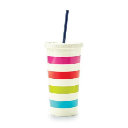 Kate Spade – Sip Sip Candy Stripe Tumbler with Straw